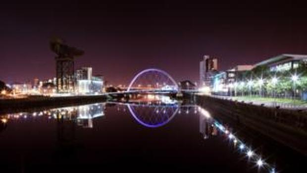 A night-time view of Glasgow over the River Clyde