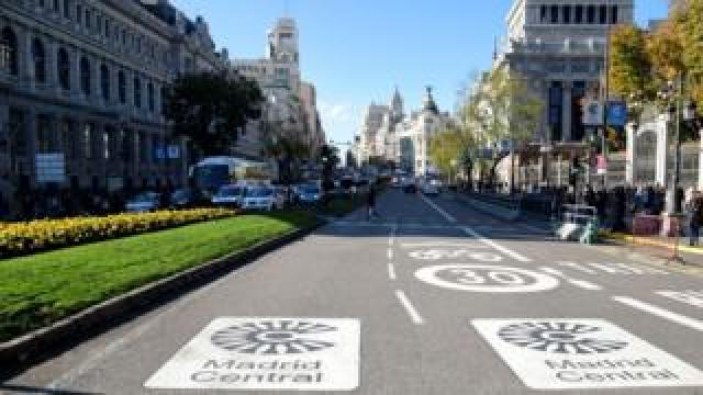 Road markings show the controlled traffic zone in central Madrid, Spain, 30 November 2018