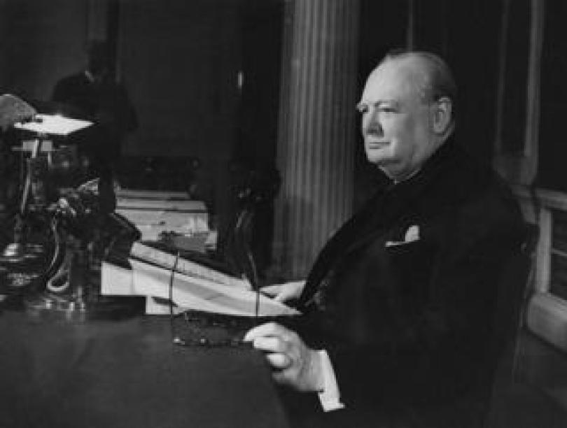 Winston Churchill makes his VE Day broadcast