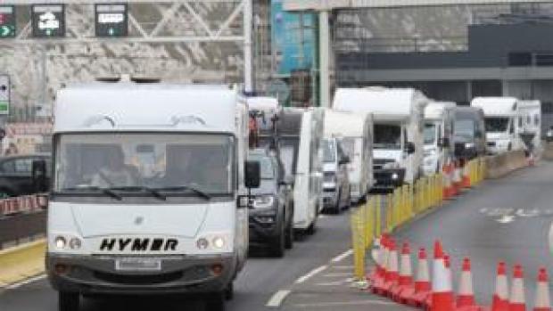 Camper vans leaving Dover port on Friday 14 August 2020, after arriving from France