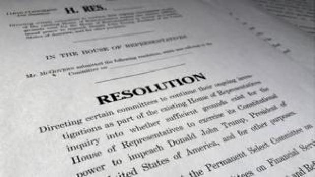 A draft of a House of Representatives resolution formally laying out the next steps in the Democratic impeachment inquiry of President Donald Trump, on Capitol Hill Washington, October 29, 2019