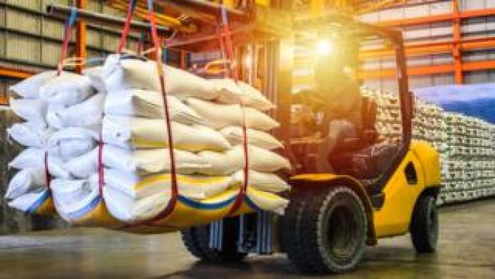 Forklift with bags of sugar