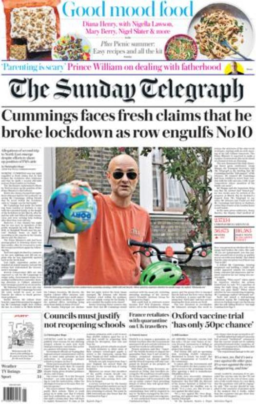 The Telegraph front page 24 May