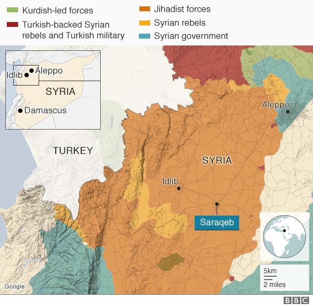 Map of Syria showing Idlib and Saraqeb