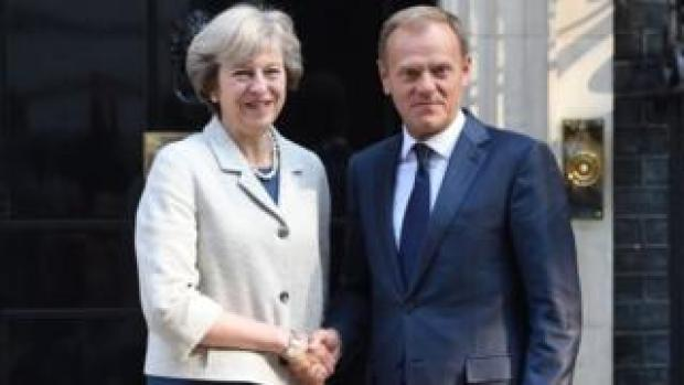 Theresa May with Donald Tusk outside Number 10