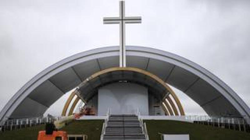 The stage constructed in Dublin's Phoenix Park for the Papal Mass
