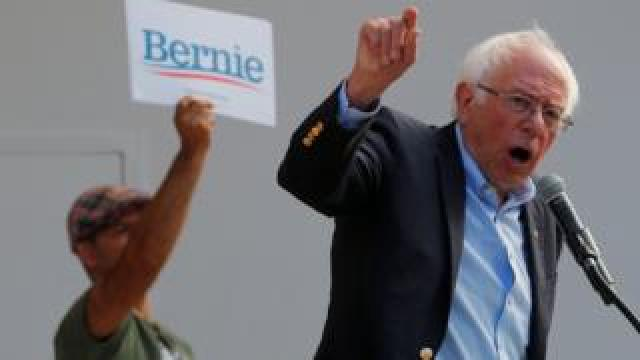 Senator Bernie Sanders at a rally in Dover, New Hampshire, on 1 September 2019