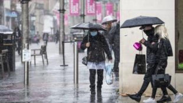 Heavy rain in Glasgow on Friday