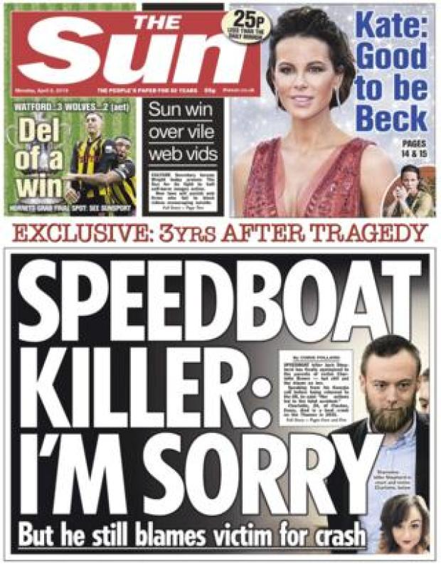 The Sun front page, 8/4/19