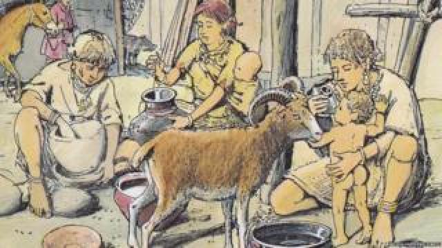 Prehistoric family scene
