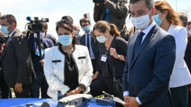 Priti Patel and French Interior Minister Gerald Darmanin in Calais on 12 July 2020
