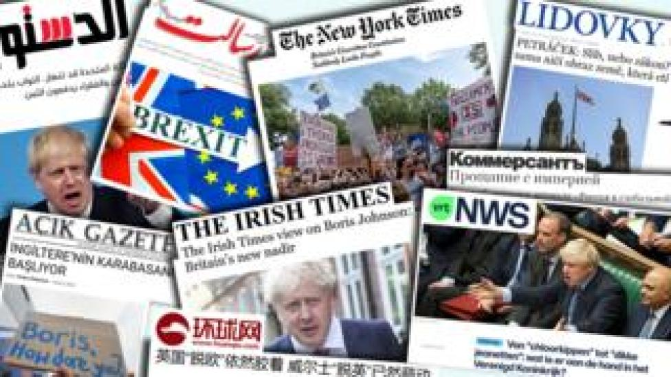 Collage of world front pages