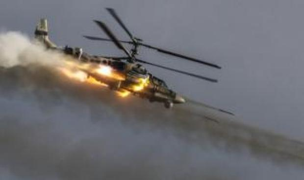 A helicopter takes part in a dynamic display.