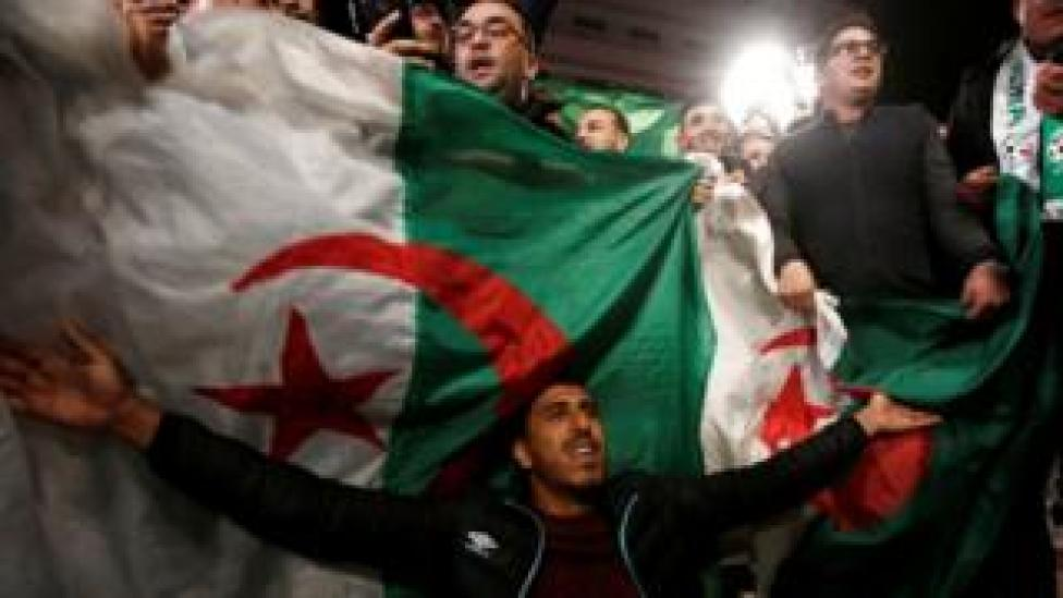 Celebrations in Algeria after President Bouteflika's announcement that he is quitting, 2 April 2019