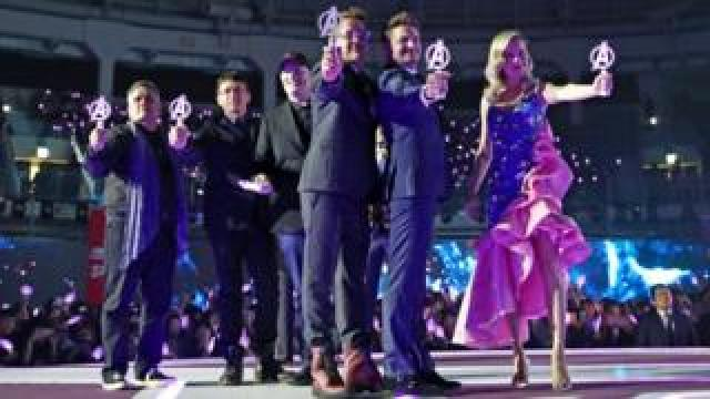 The Avengers cast and crew (L-R): Joe and Anthony Russo, Kevin Feige, Robert Downey Jr, Jeremy Renner and Brie Larson