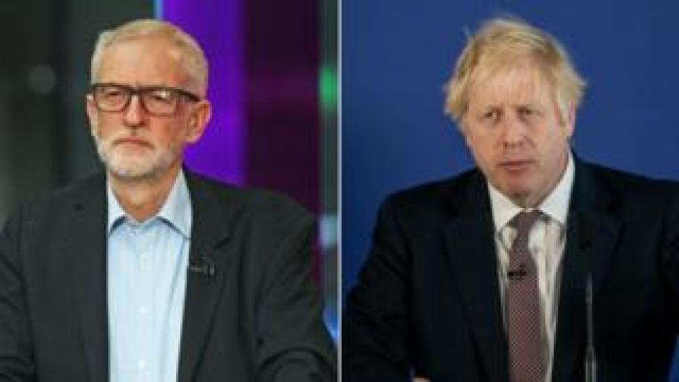 Jeremy Corbyn and Boris Johnson are pictured in a composite image