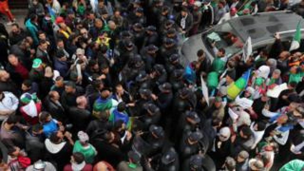 Algerians protest against President Abdelaziz Bouteflika in Algiers, Algeria, 25 March 2019.