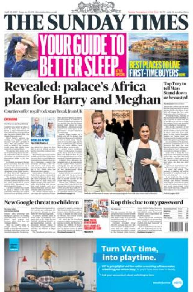 Sunday Times front page 21/04/19