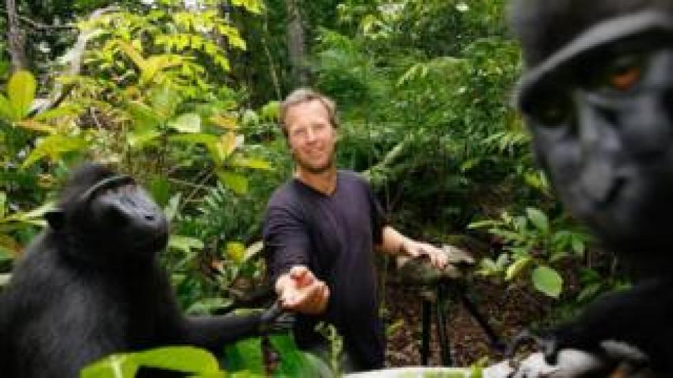 David Slater with macaque moneys in Indonesia