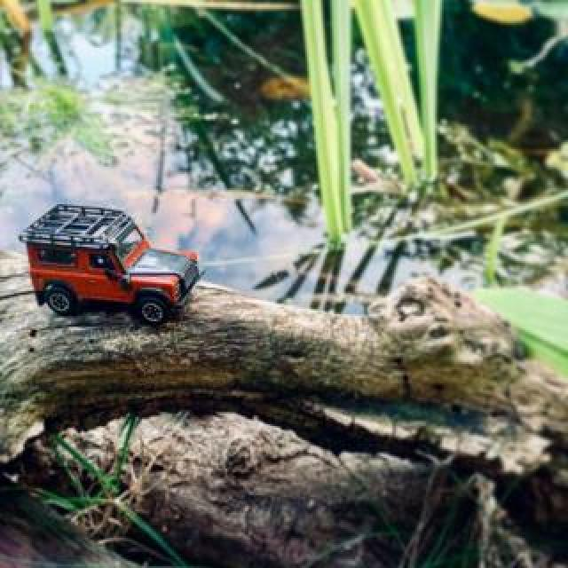 Red model Land Rover crosses water on a branch