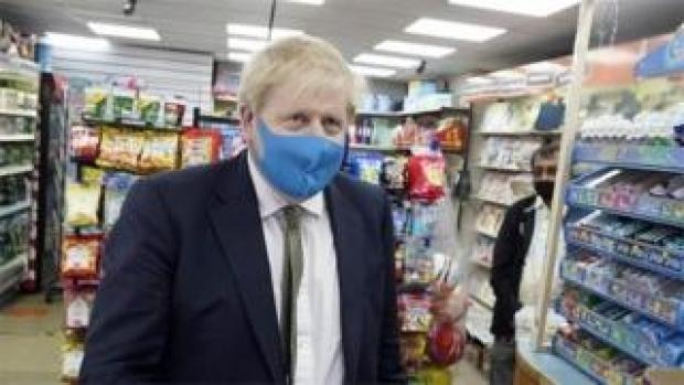 Boris Johnson wearing face mask
