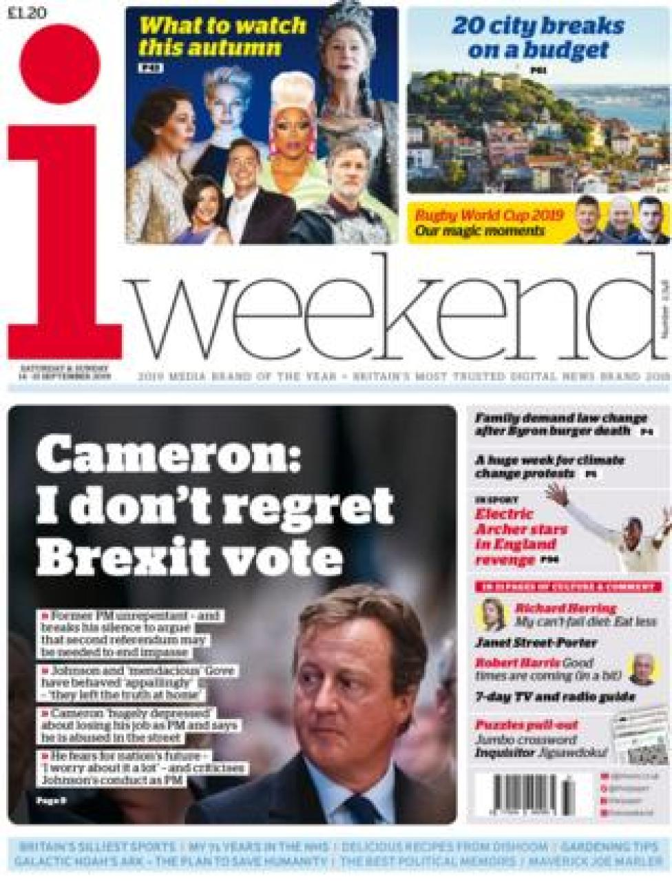 Front page of the i on 14 September 2019