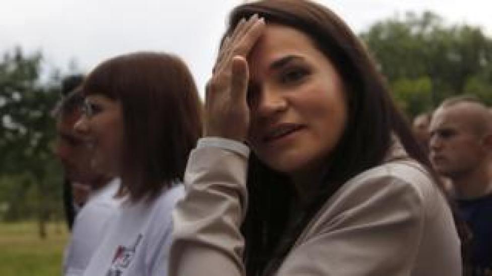 Svetlana Tsikhanovskaya after casting her vote on Sunday