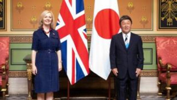 Liz Truss and Toshimitsu Motegi