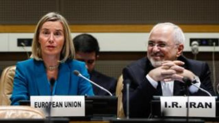 Federica Mogherini (L), High Representative of the European Union for Foreign Affairs and Security Policy, and Iranian Foreign Minister Mohammad Javad Zarif