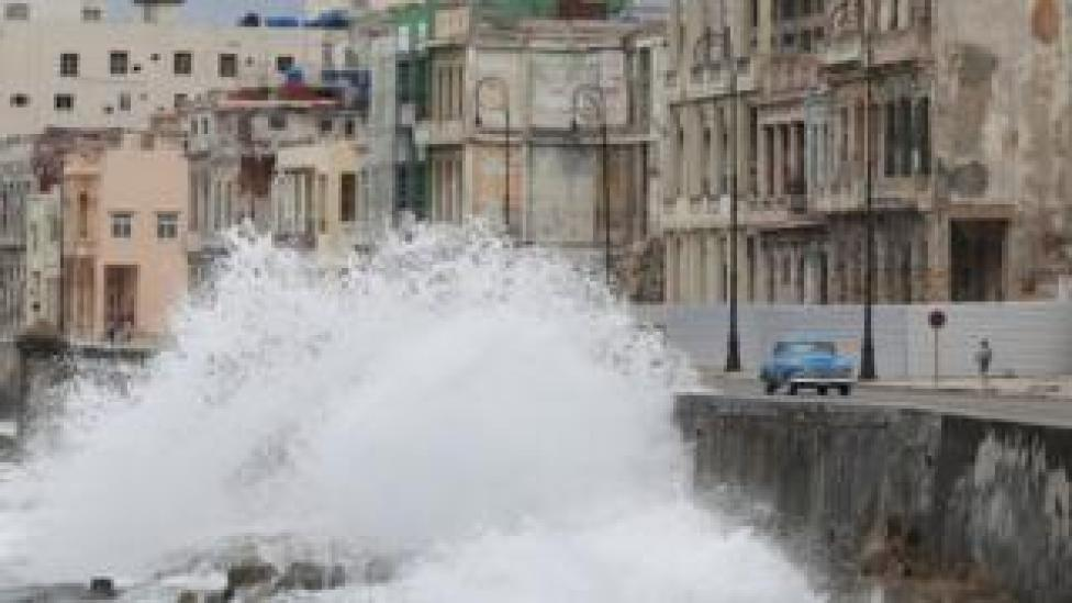 trump Waves splash at the seafront Malecon during the passage of theTropical Storm Laura in Havana, Cuba