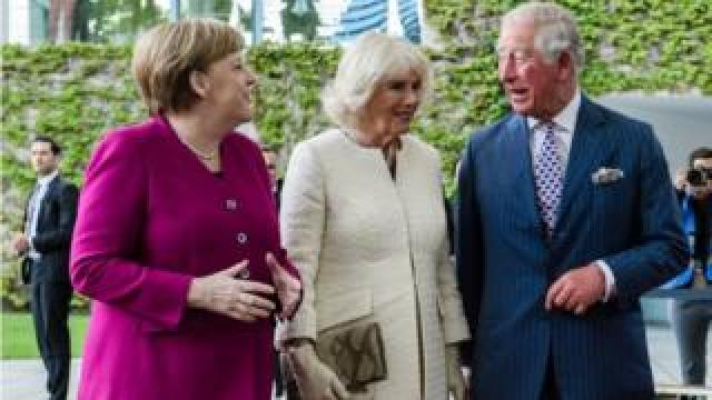 Angela Merkel with the Prince of Wales and the Duchess of Cornwall