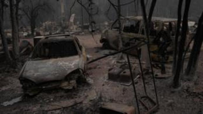 Aftermath of the Oberchain fire in Oregon