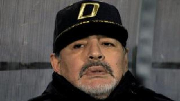Diego Maradona looking worried at a football match in Mexico, November 2018