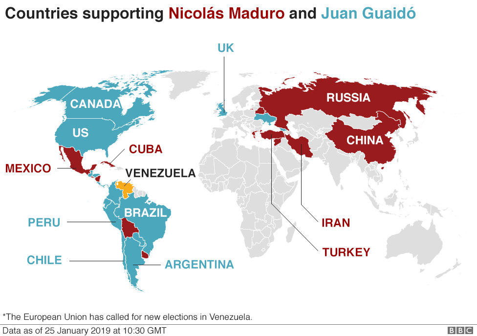 Map showing which countries support