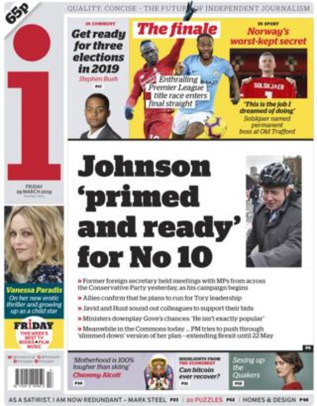 The i front page, 29/3/19