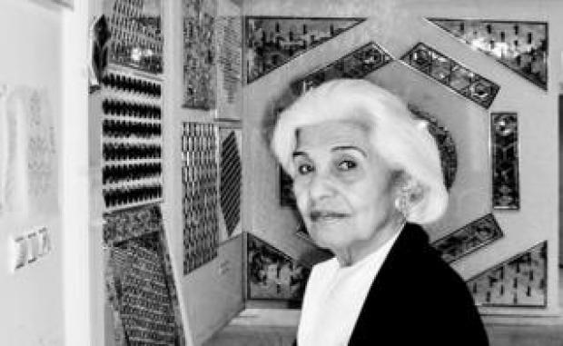Monir Farmanfarmaian in her workshop in Tehran