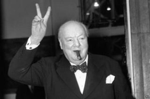 Winston Churchill giving V-for-victory sign