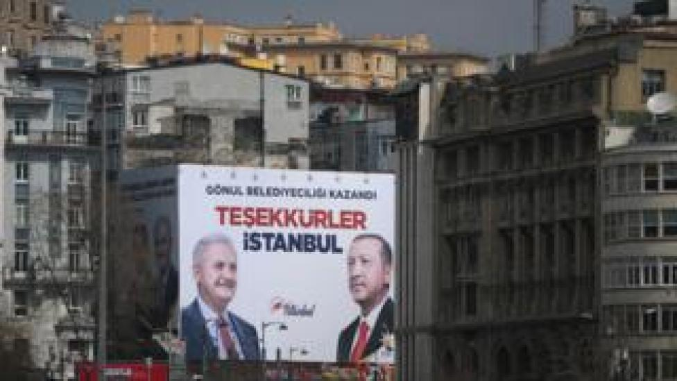 AKP victory poster in Istanbul, 1 Apr 19