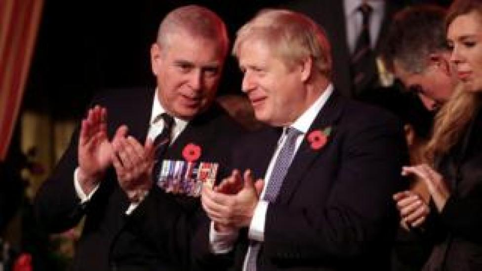 Prince Andrew chatting to Boris Johnson during the ceremony