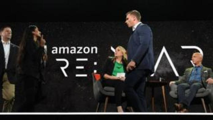 Amazon founder Jeff Bezos addresses the public in Las Vegas, Nevada