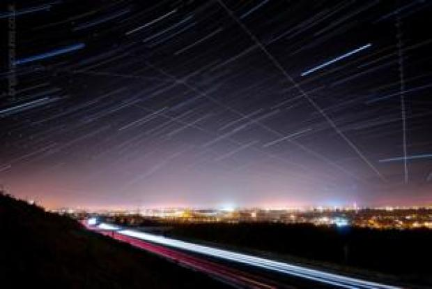 Star trail showing the normal interference that planes have on these images - taken over Hampshire,