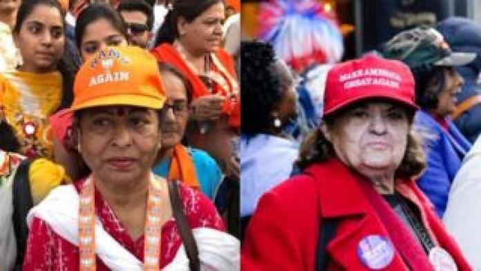 Mujeres en modi y trump rallies