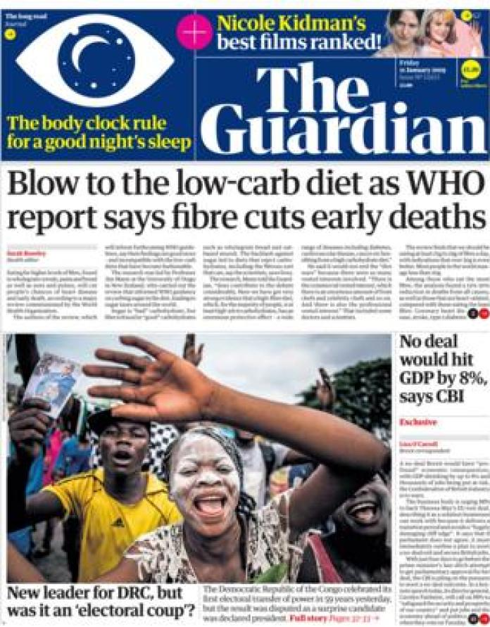 Guardian front page, 11/1/19