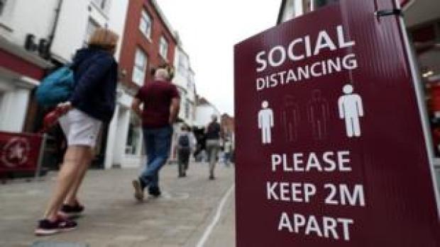 Social distance street scene