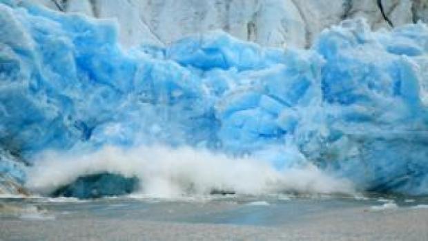 A calving glacier