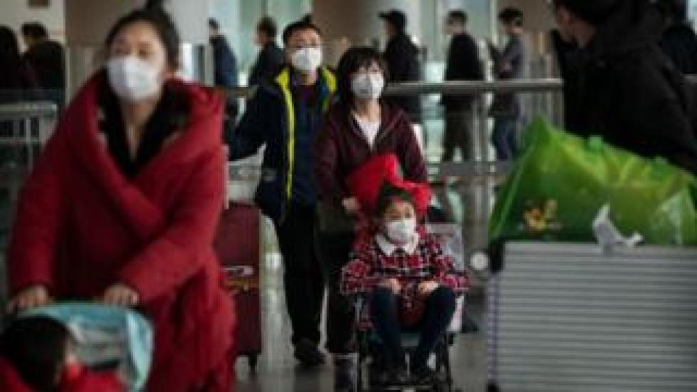 Passengers at Beijing Airport