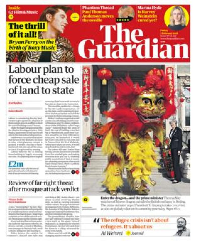 Guardian front page - 02/02/18