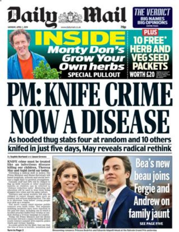 Monday's Daily Mail front page