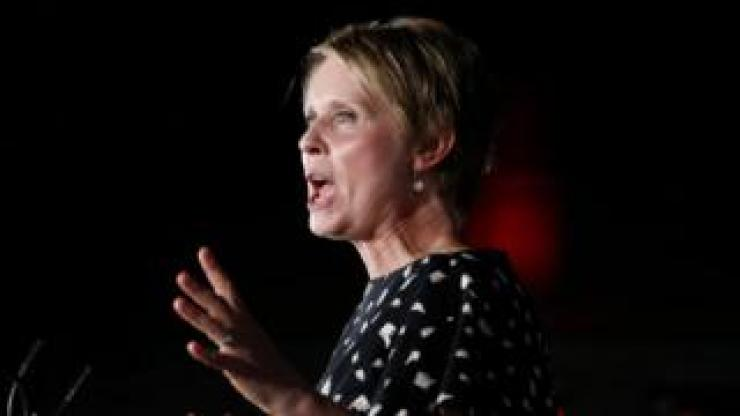 Cynthia Nixon delivers a concession peech in Brooklyn after losing the primary on 13 September 2018.