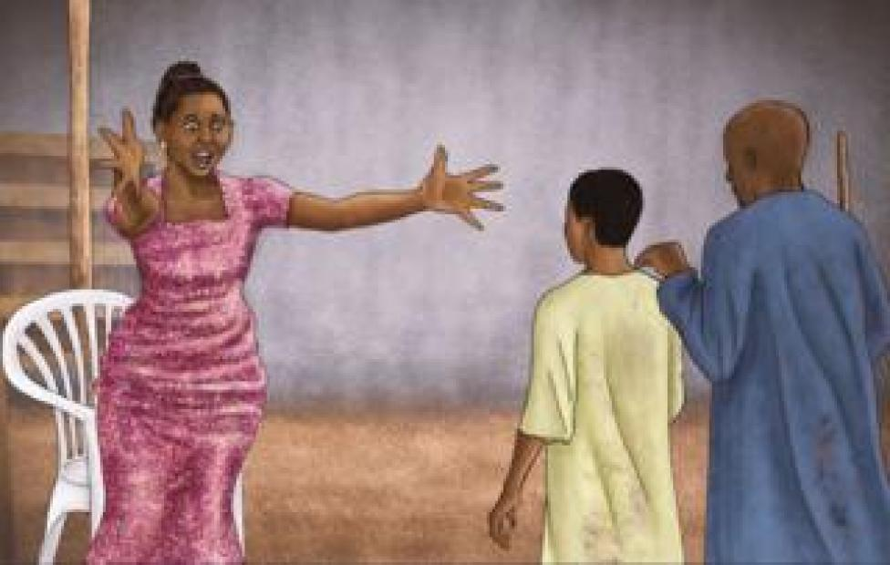 Illustration showing Firdausi Okezie recognising her brother